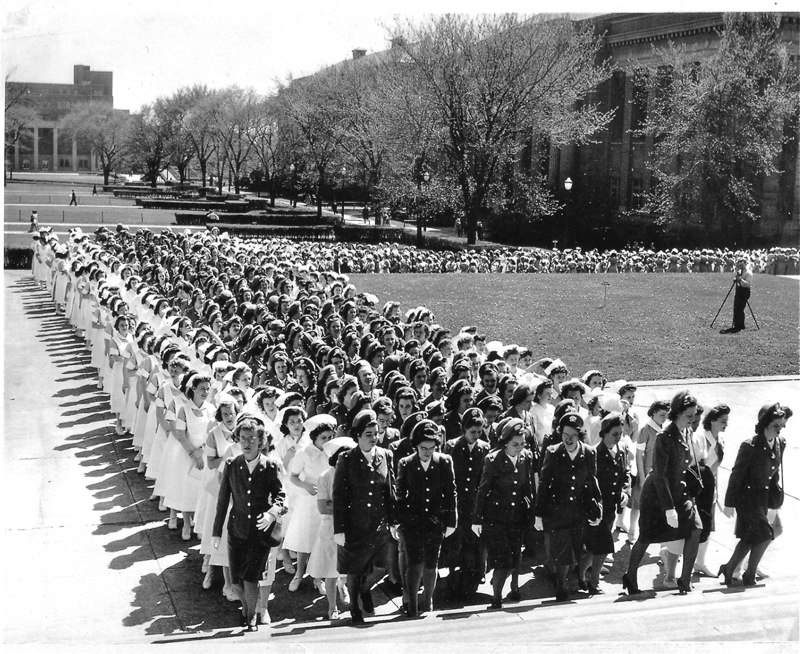 Cadet Nurses Marching to Pledge. Courtesy Thelma Robinson.