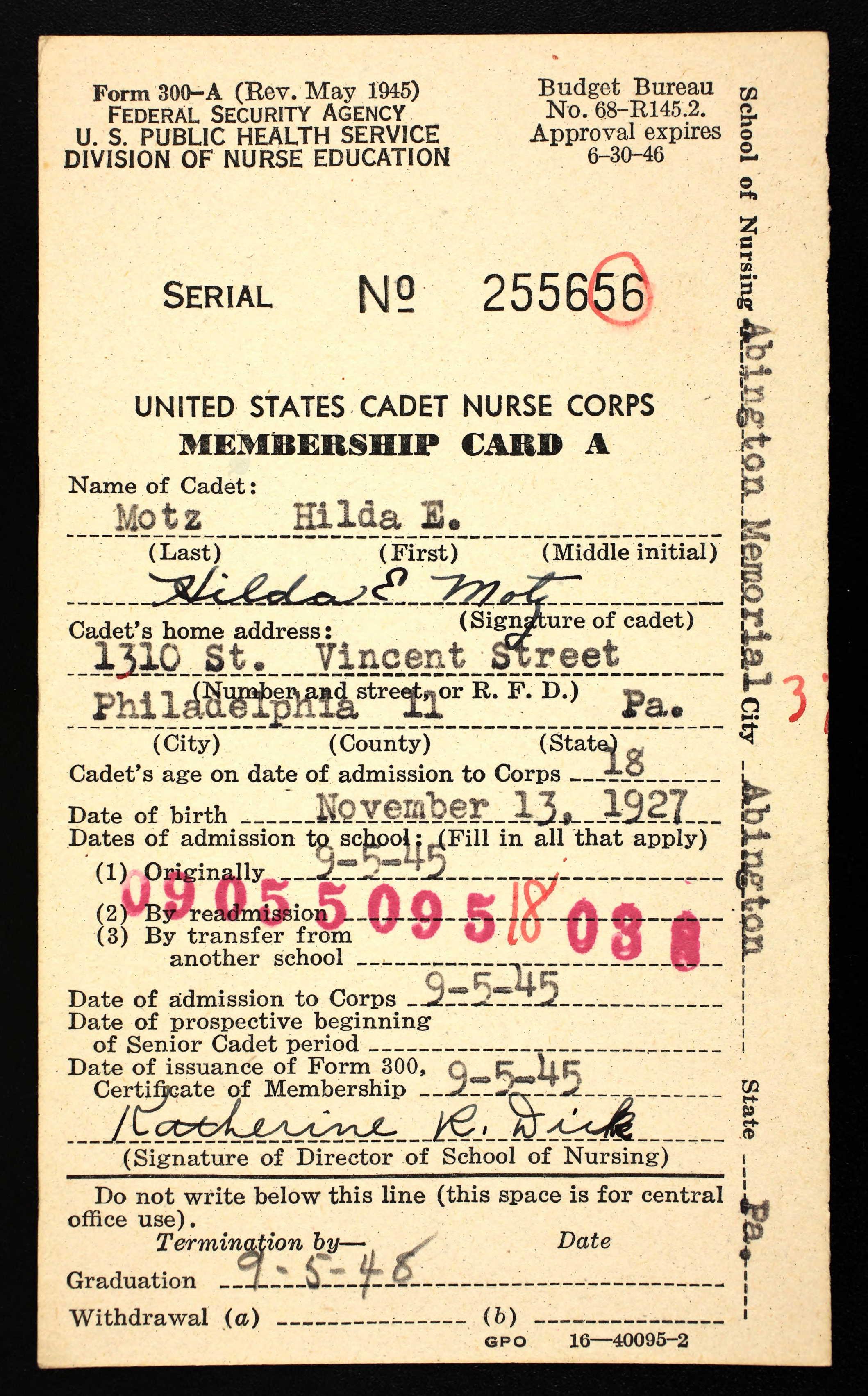 Hilda Motz membership card