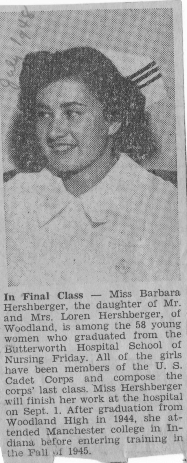 Newspaper Clipping about Barbara Corl